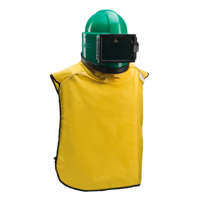 KF Strahltechnik Dresden | Strahlerschutzausrüstung Helm und Anzug von vorne