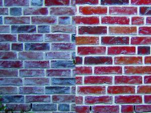 trockeneisstrahlen-Mauerwerk-Ziegelstein-vorher-nachher-kf-strahltechnik